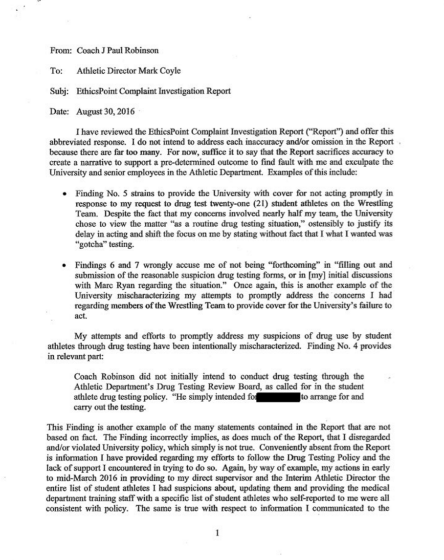 j robinson s letter to university of minnesota flowrestling coach robinson was fired today by the university of minnesota minnesota ad mark coyle sent j robinson a letter informing him of this decision