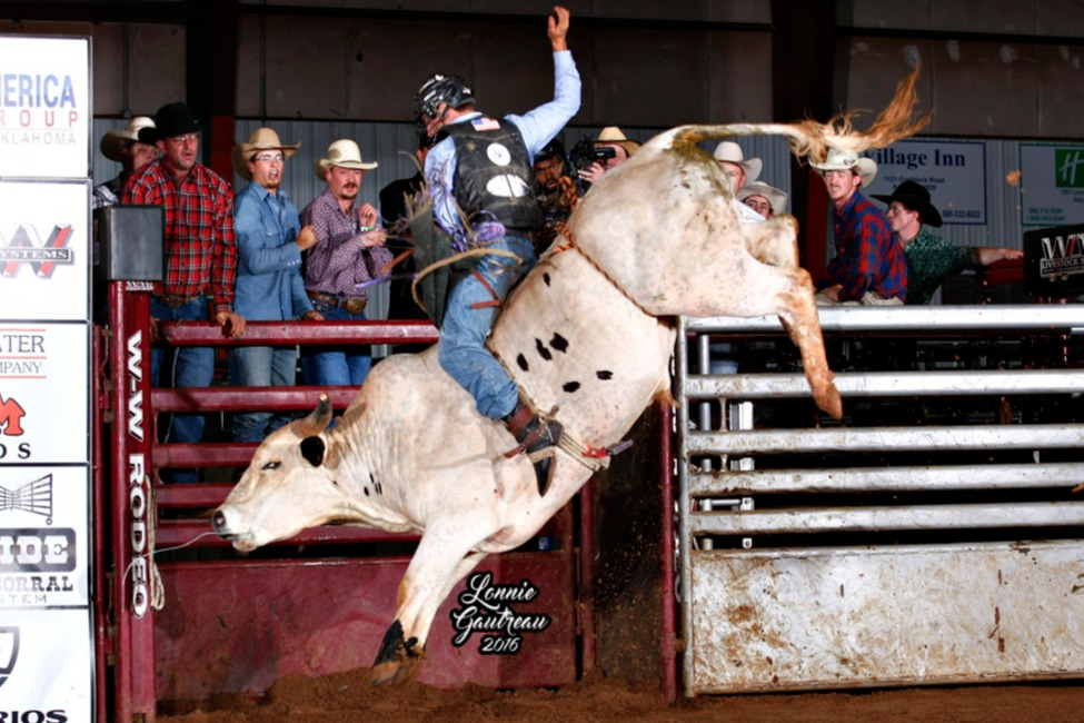 Bull #193 The Communicator owned by Sellers Bucking Bulls/UTC winning the Derby. Photo by Gautreau